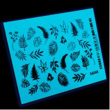 BPW 3D Слайдер-дизайн Белые и черные листья 3d268...